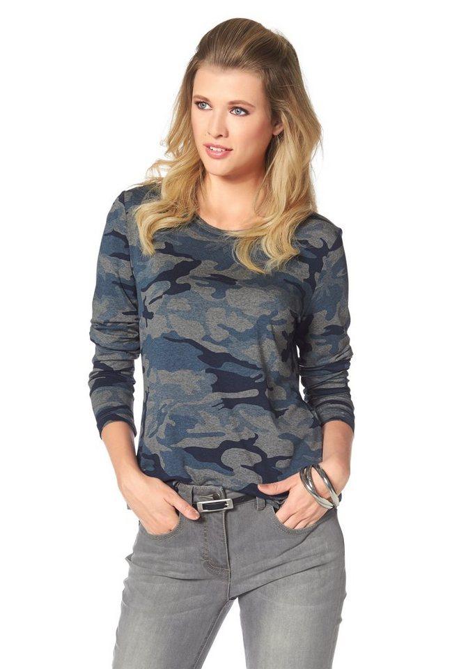 Tamaris Langarmshirt in grau-blau-bedruckt