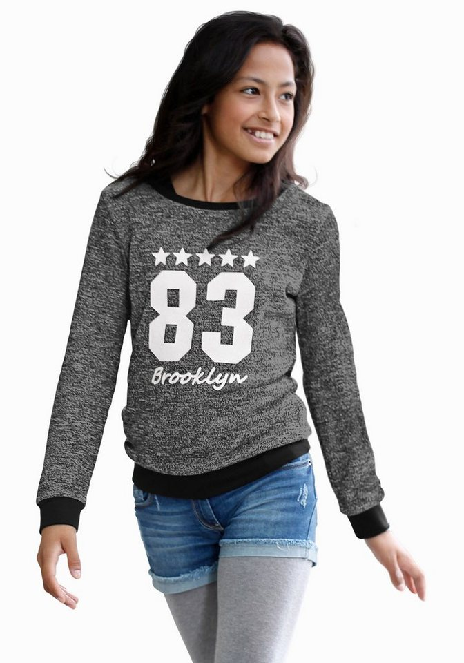 CFL Sweatshirt mit coolem Frontdruck in grau-meliert