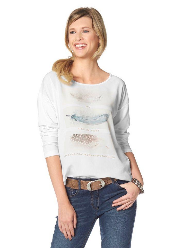 Corley Langarmshirt in wollweiß-bedruckt