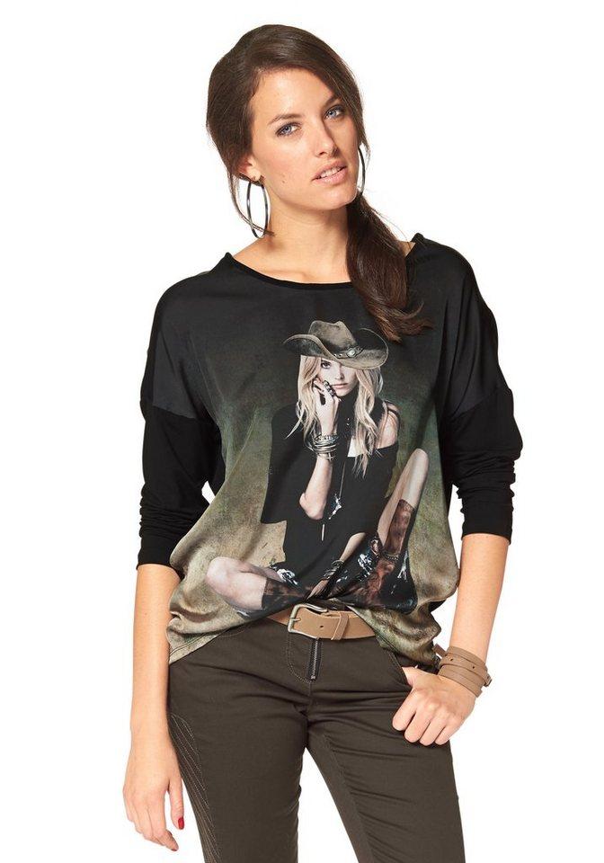 Aniston Langarmshirt mit femininem Frontdruck in schwarz-grasgrün-beige