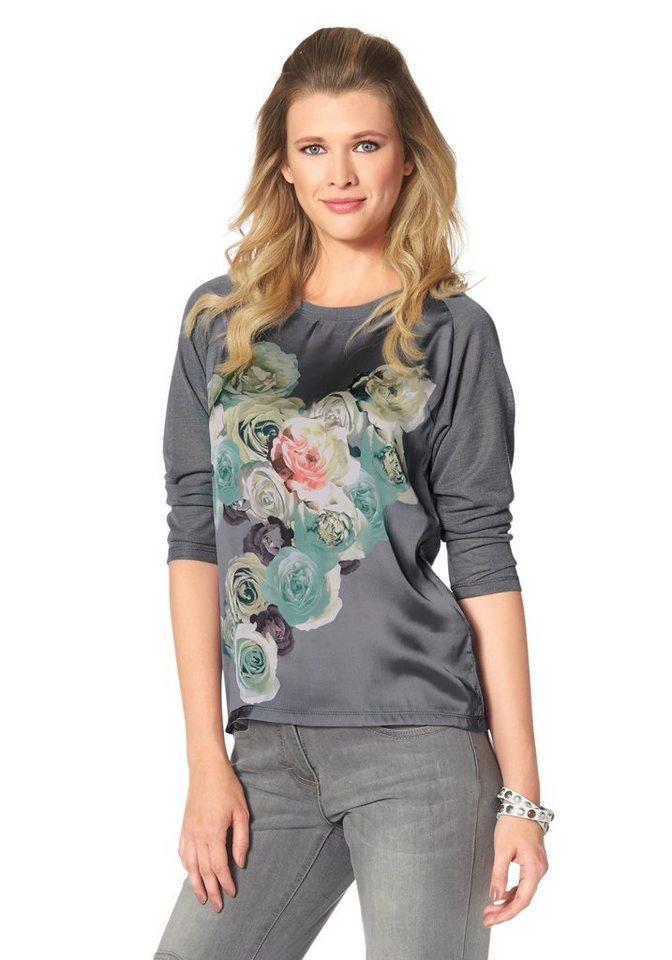 Tamaris Rundhalsshirt mit 3/4-langen Ärmeln in grau-meliert-graugrün-rosé