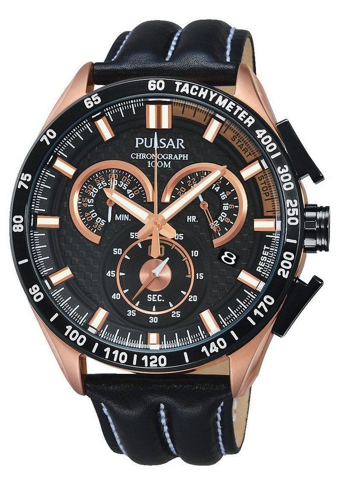 """Pulsar, Chronograph, """"Aus dem Hause Seiko"""", """"PX7006X1"""" in schwarz-roségoldfarben"""
