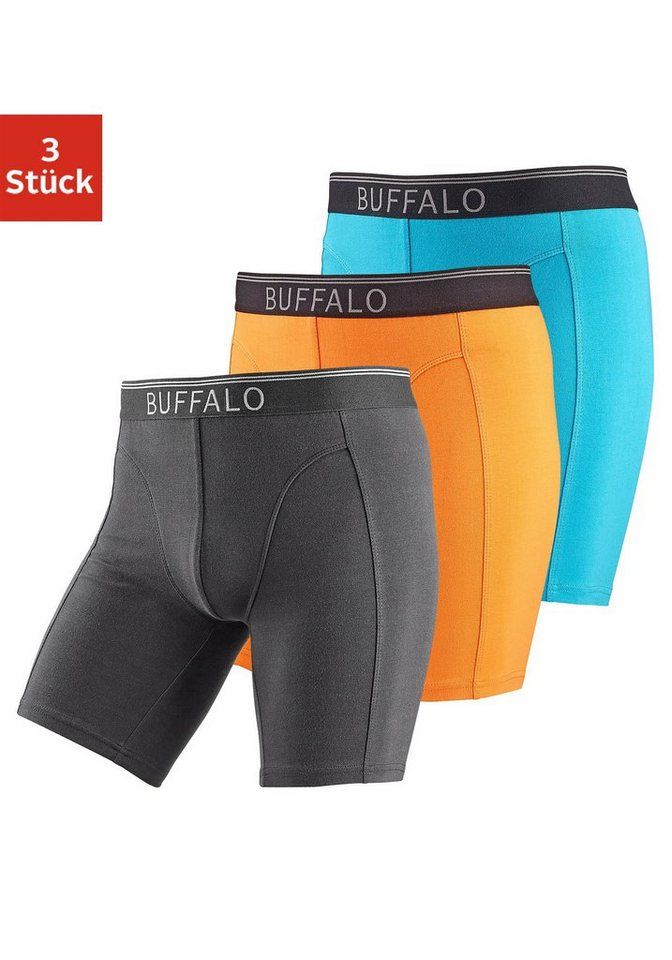 Buffalo Longboxer (3 Stück) mit Logodruck im Webbund in türkis + orange + schwarz