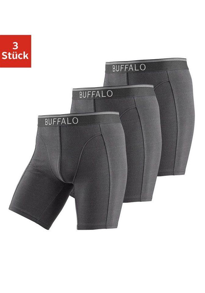 Buffalo Longboxer (3 Stück) mit Logodruck im Webbund in 3x schwarz