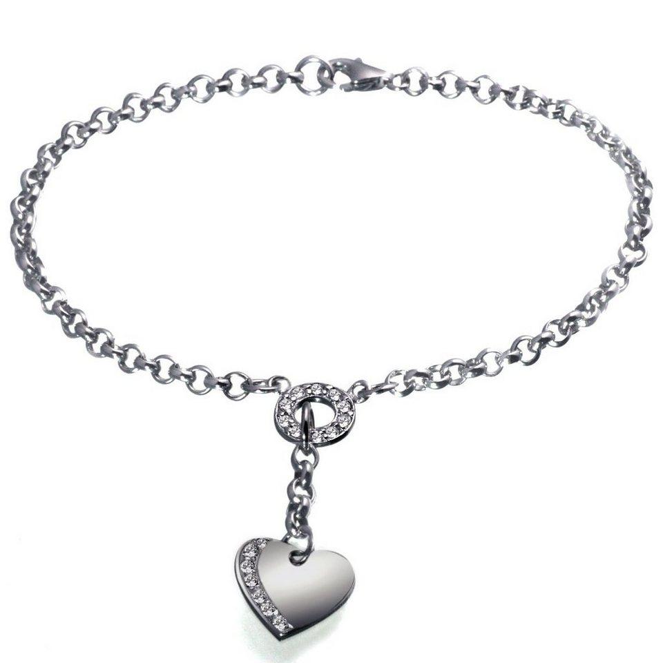 Averdin Armband Silber 925 Herz klare Steine in silberfarben