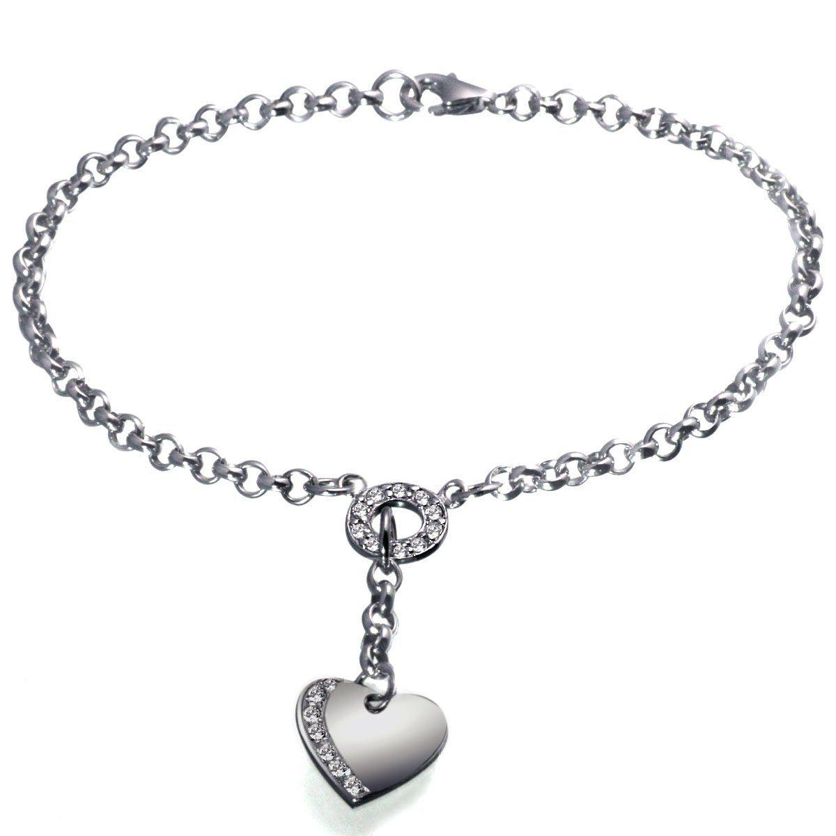 Averdin Armband Silber 925 Herz klare Steine