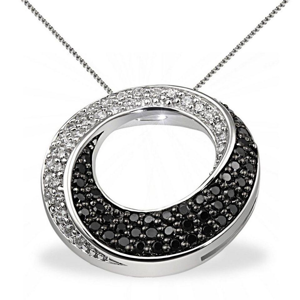 goldmaid Collier Silber 925 schwarz weisse Zirkonia gedrehte Form in silberfarben