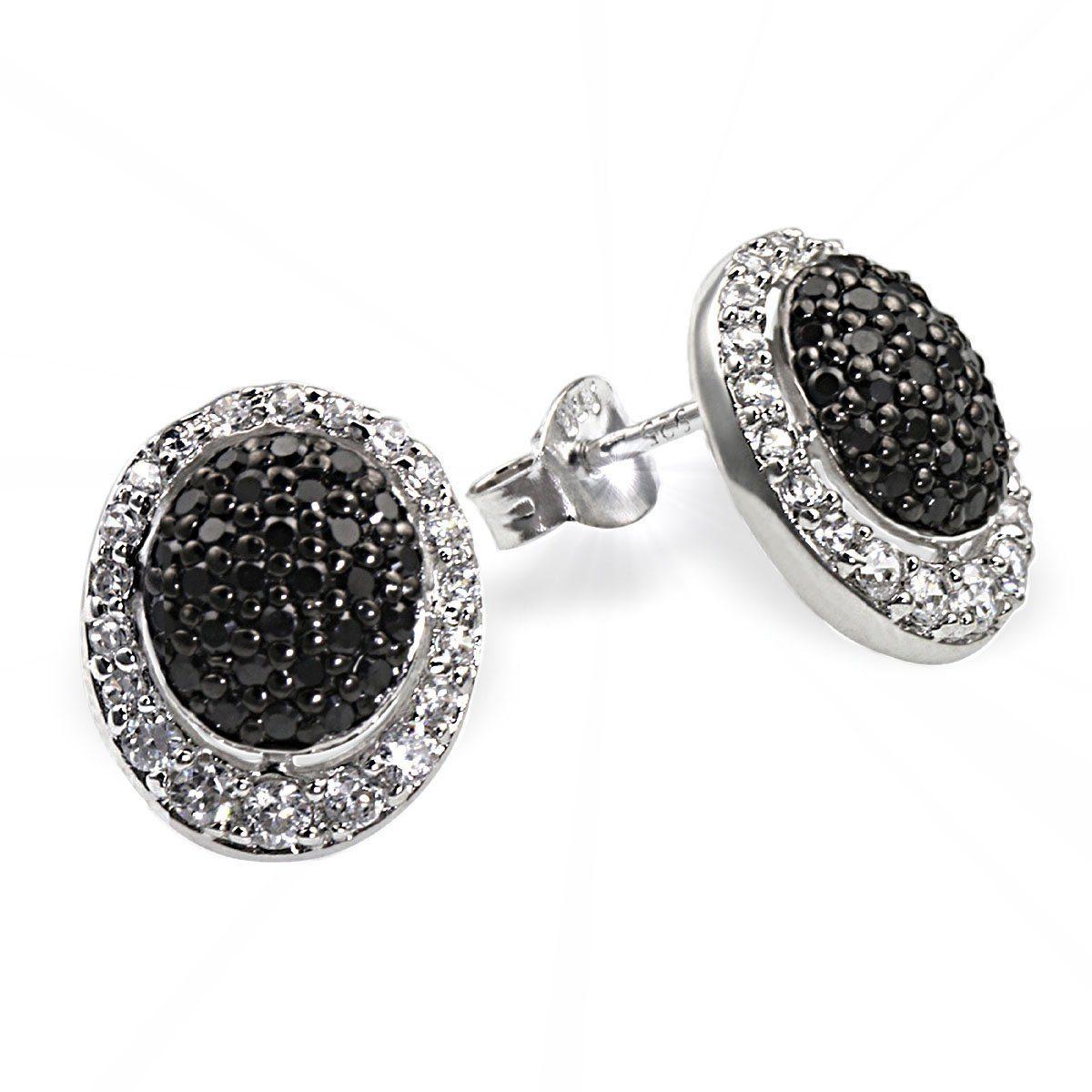 Averdin Paar Ohrstecker Silber 925 schwarz weisse Zirkonia Pavee