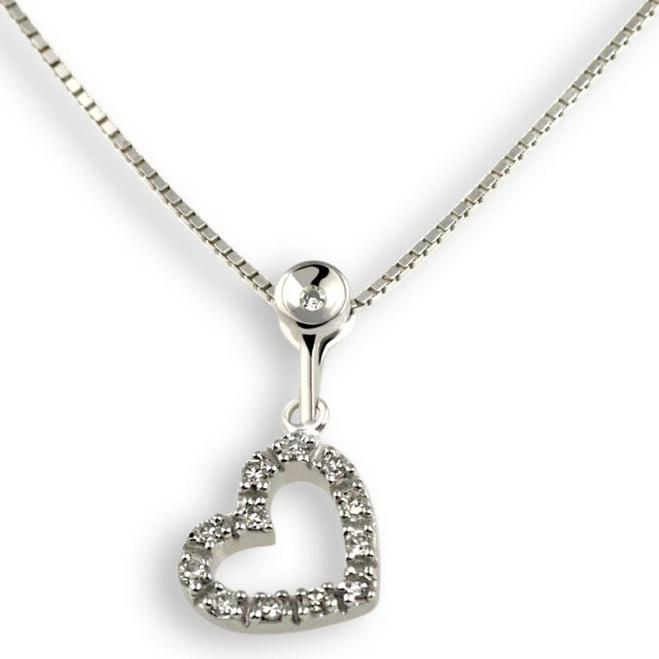 goldmaid Collier Weißgold 375 Herz Diamanten in silberfarben