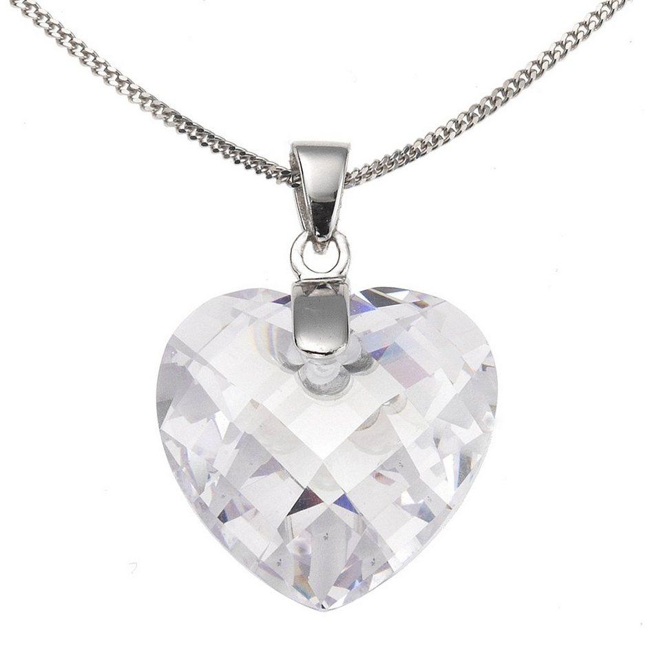 Zeeme Anhänger mit Kette »925/- Sterling Silber Zirkonia Herz« in weiß