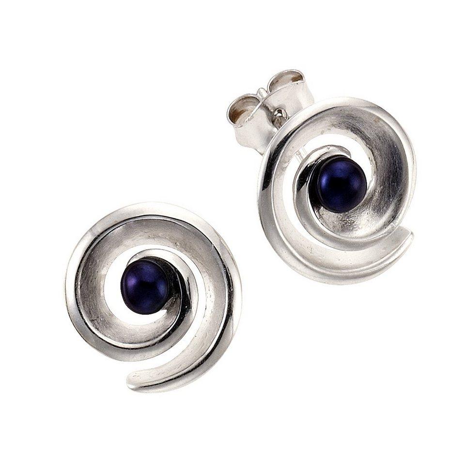 Zeeme Ohrstecker »925/- Sterling Silber Perle schwarz« in Silbergrau