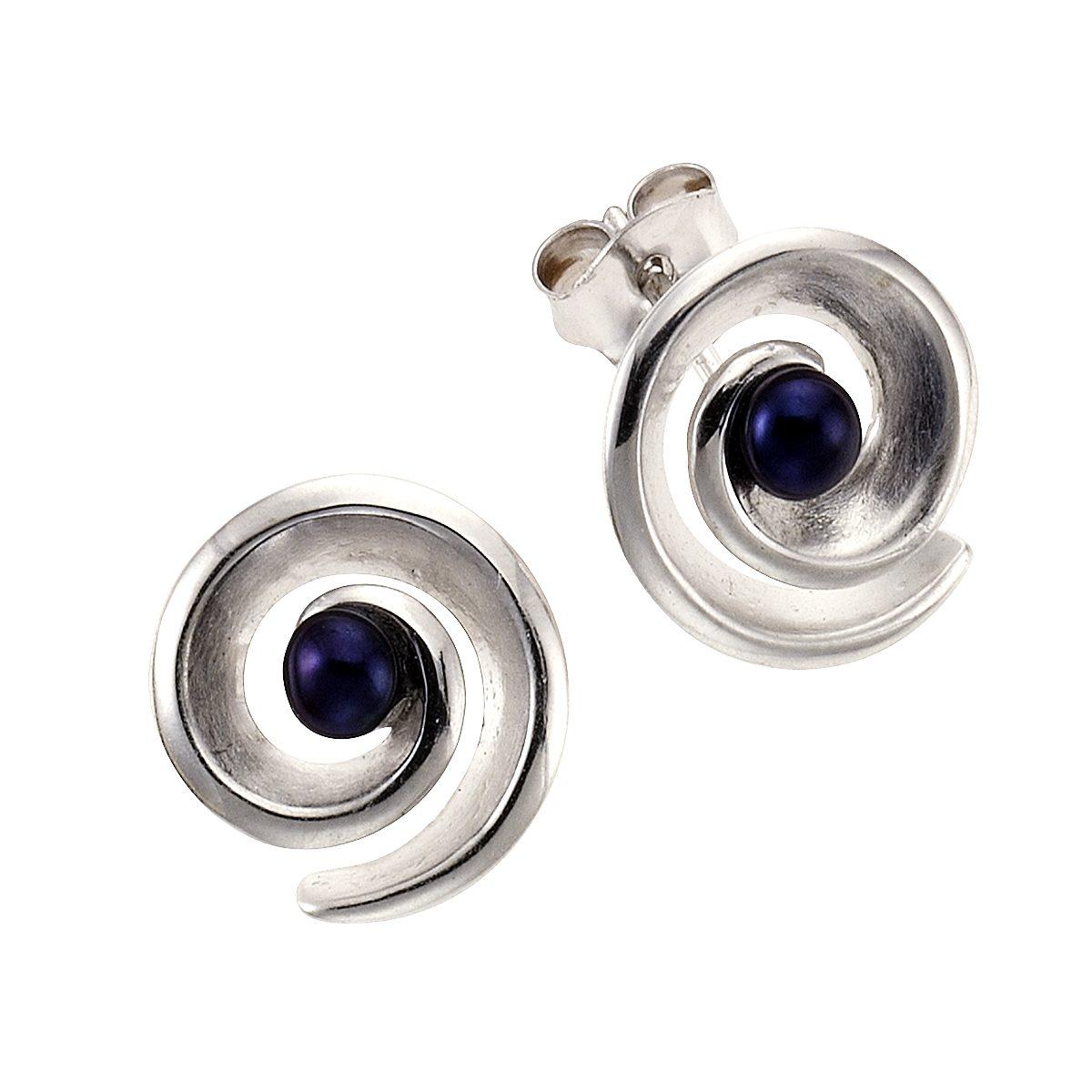 Zeeme Ohrstecker »925/- Sterling Silber Perle schwarz«