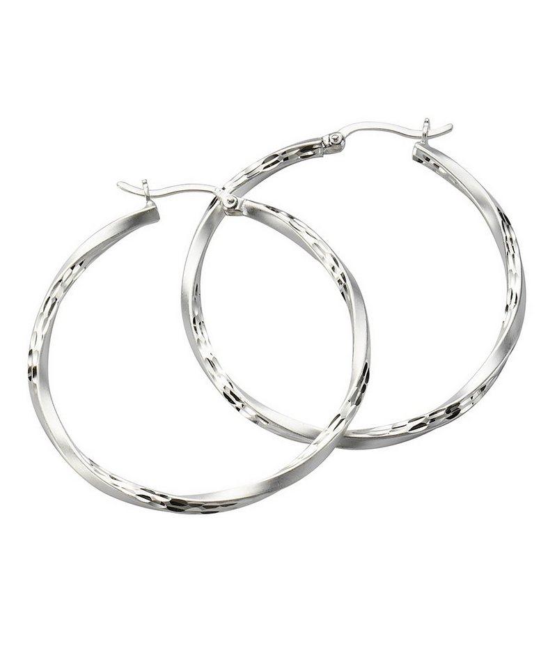 Zeeme Creolen »925/- Sterling Silber mattiert diamantiert« in weiß