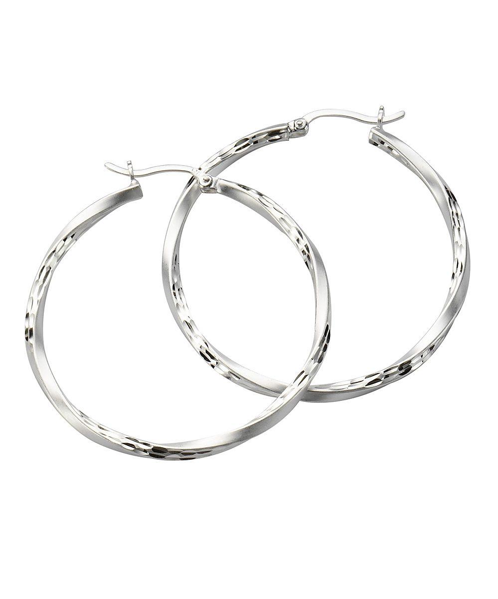 Zeeme Creolen »925/- Sterling Silber mattiert diamantiert«