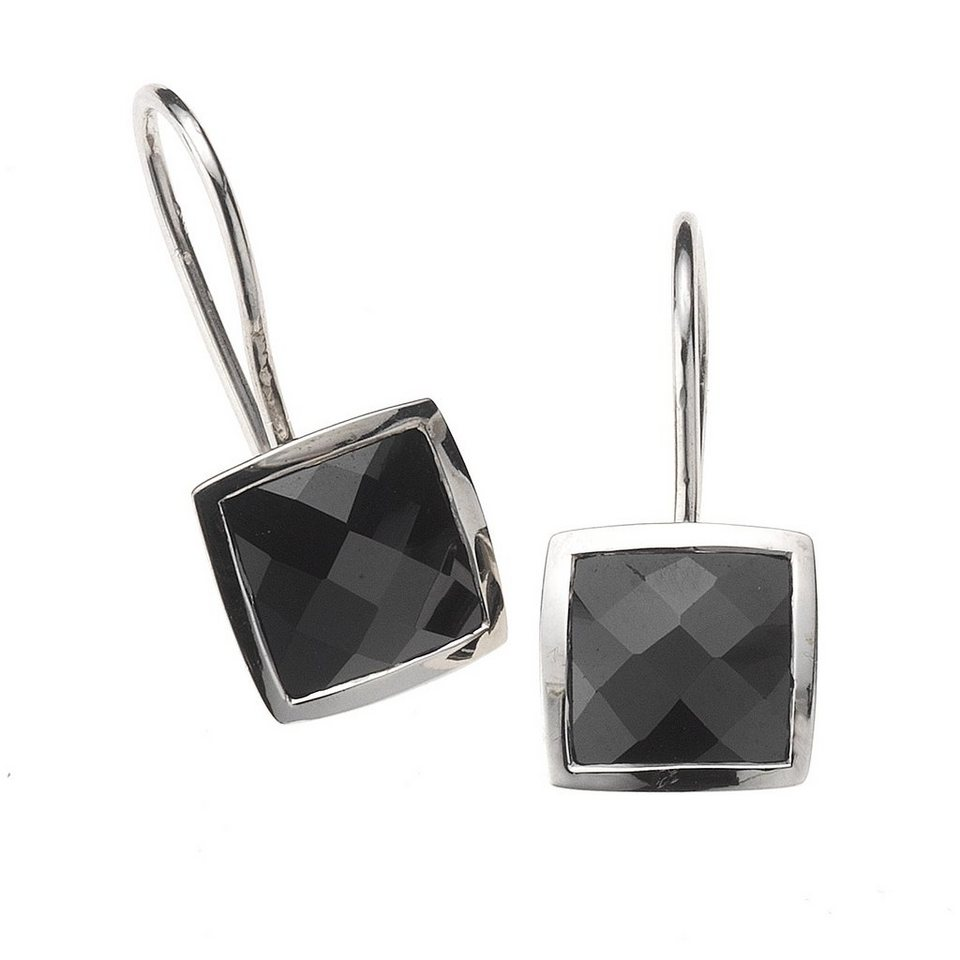 Zeeme Ohrhänger »925/- Sterling Silber Zirkonia schwarz« in schwarz