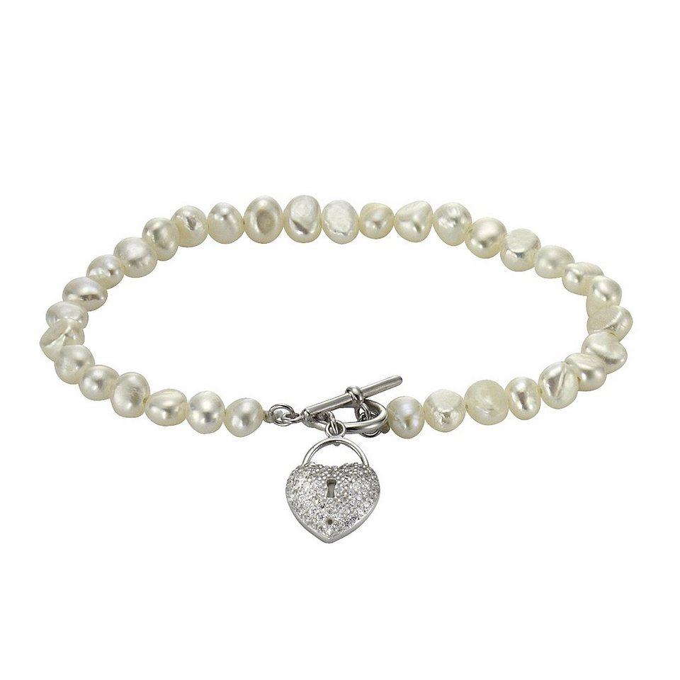 Zeeme Armband »925/- Sterling Silber Perle Zirkonia« in weiß