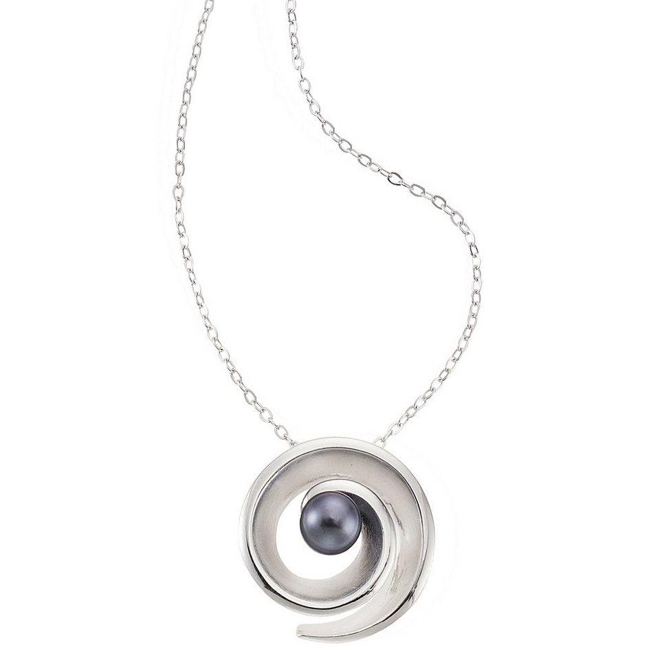 Zeeme Anhänger mit Kette »925/- Sterling Silber Perle« in schwarz