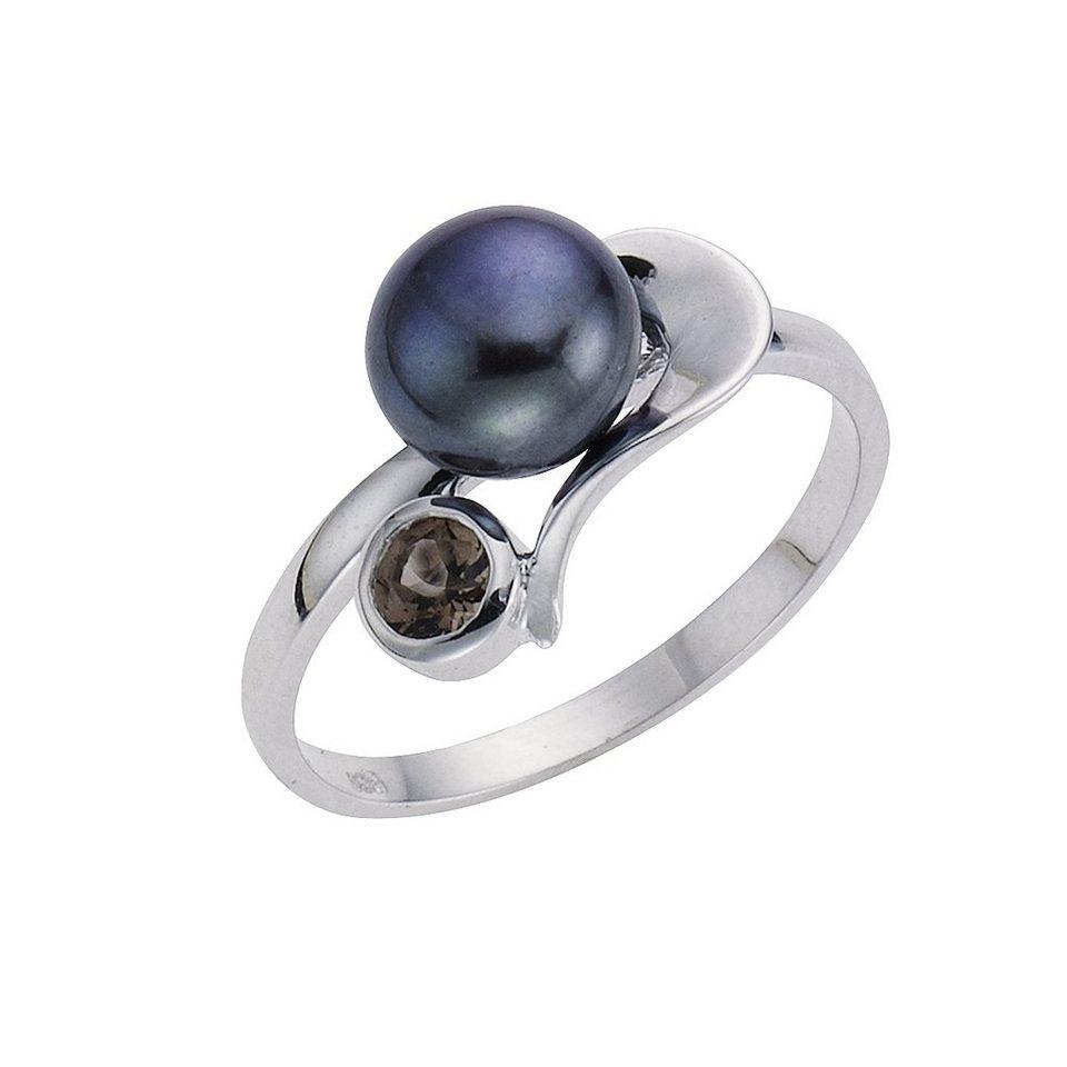 Zeeme Ring »925/- Sterling Silber Perle schwarz« in schwarz