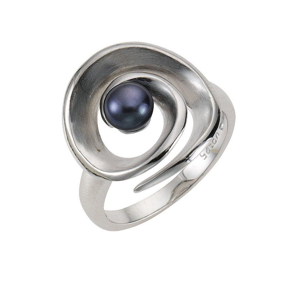 Zeeme Ring »925/- Sterling Silber Perle schwarz« in weiß