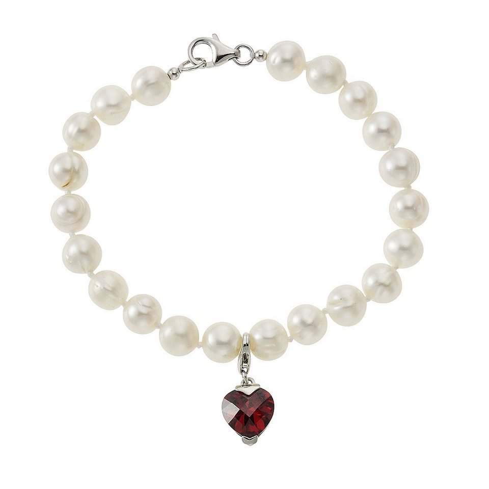 Zeeme Armband »925/- Sterling Silber Perle weiß Zirkonia« in weiß
