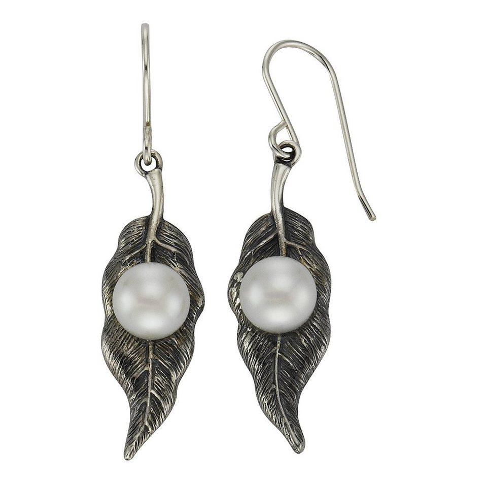 Zeeme Ohrhänger »925/- Sterling Silber Perle weiß« in grau