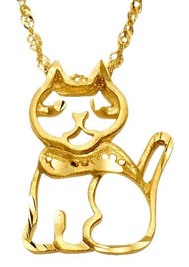 firetti Halsschmuck: Halskette »Katze« in Singapurkettengliederung in Gelbgold 333