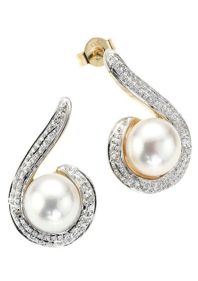"Vivance Jewels Ohrschmuck: Paar Ohrstecker ""Perle"" mit Diamanten in Gelbgold 333/bicolor/weiß"