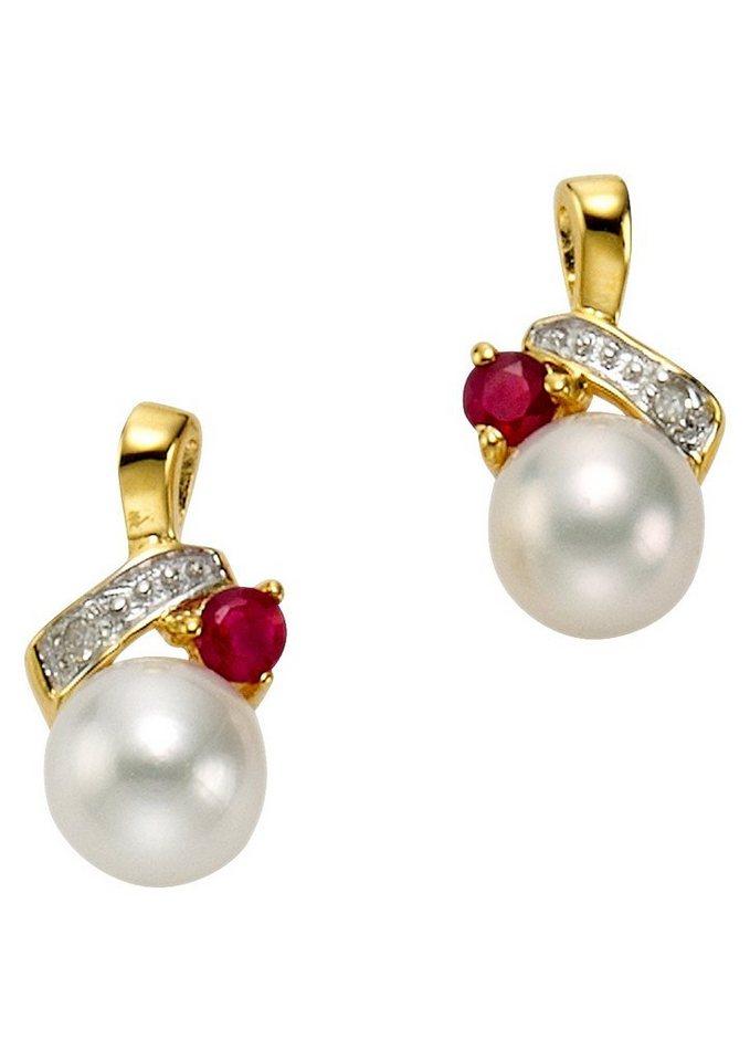 """Vivance Jewels Ohrschmuck: Paar Ohrstecker """"Perle"""" mit Rubin und Diamanten in Gelbgold 333/bicolor/rot/weiß"""