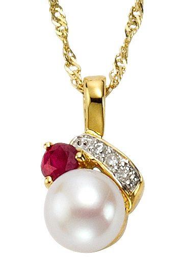 Vivance Jewels Halsschmuck: Anhänger ohne Kette mit Perle, Rubin und Diamant