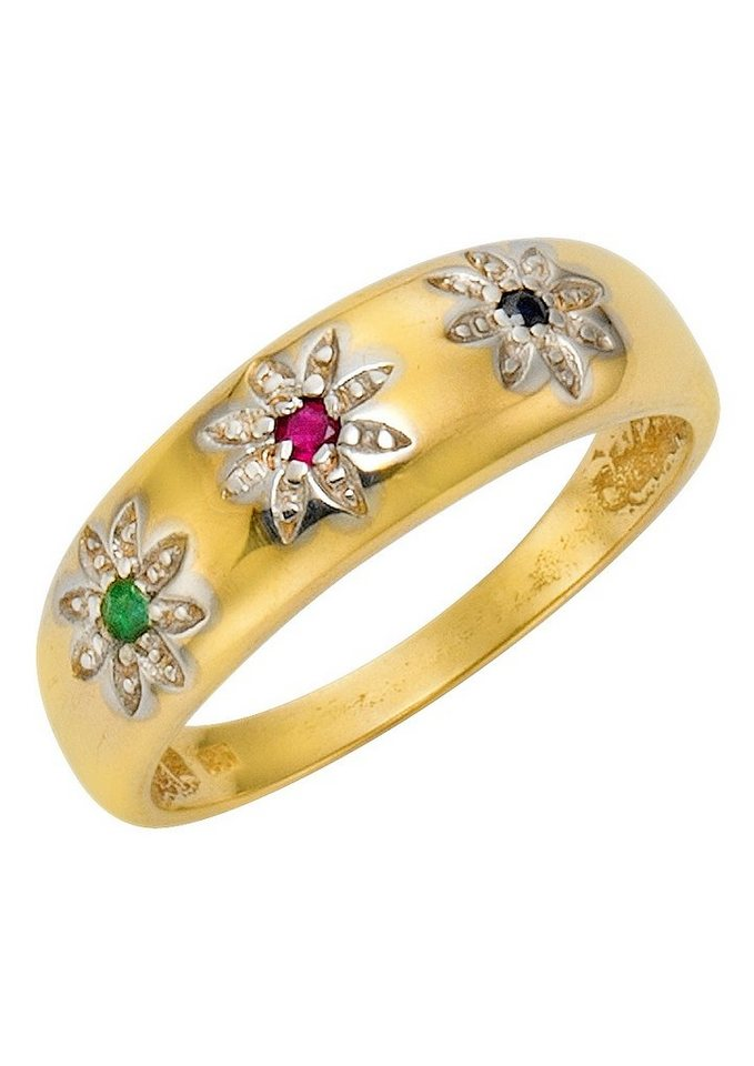 Vivance Jewels Ring mit Safir, Smaragd und Rubin in Gelbgold 333/grün/blau/rot