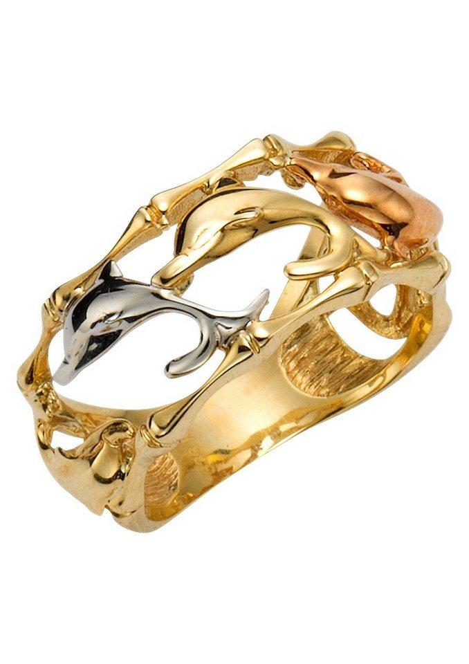 """firetti Ring """"Delfine"""" in Gelbgold 333/Tricolor"""