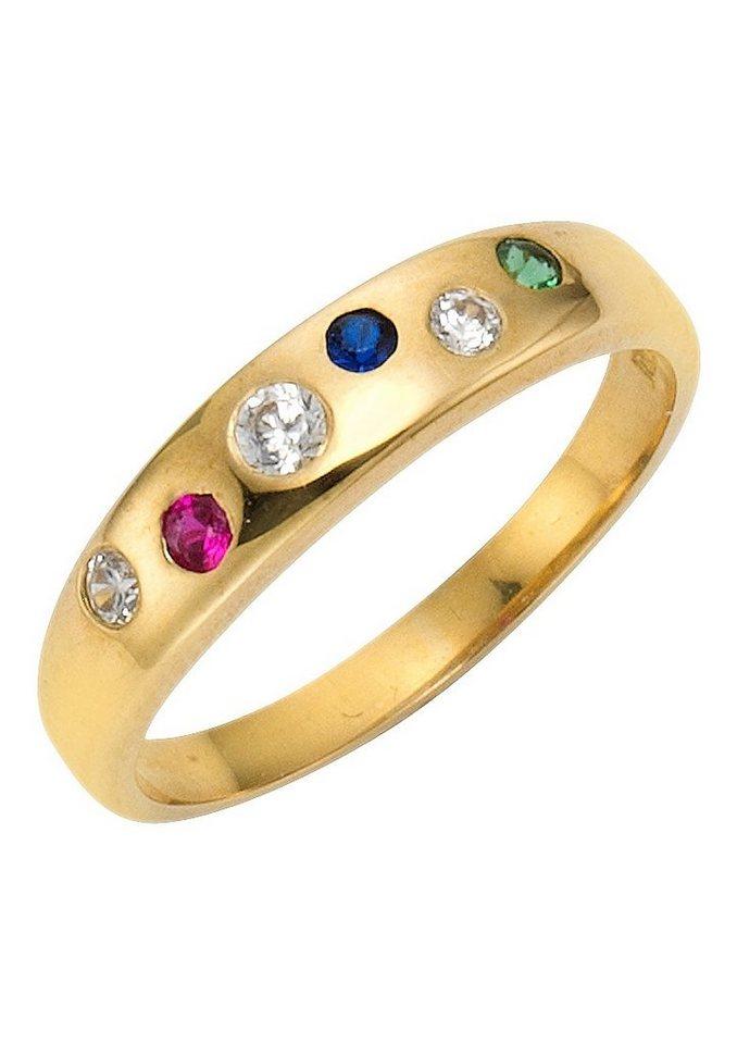 Vivance Jewels Ring mit Rubin, Safir, Smaragd und Zirkonia in Gelbgold 333/grün/blau/rot