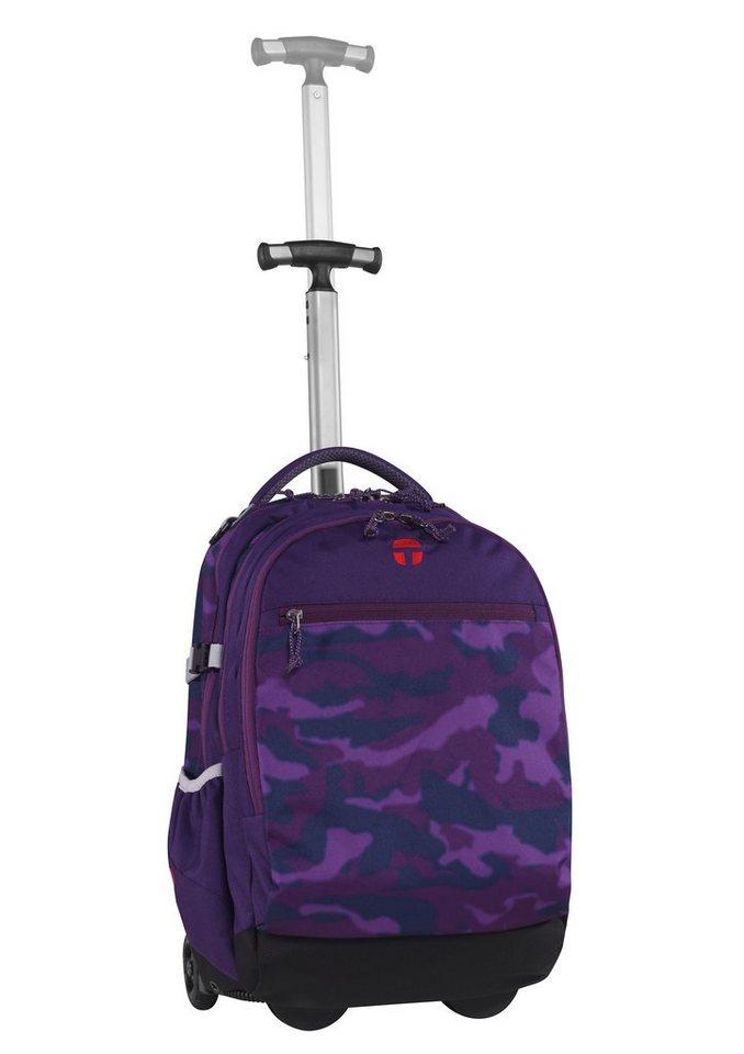 TAKE IT EASY® Rucksack mit Teleskoparm, »Barcelona Camouflage Purple« in lila/schwarz