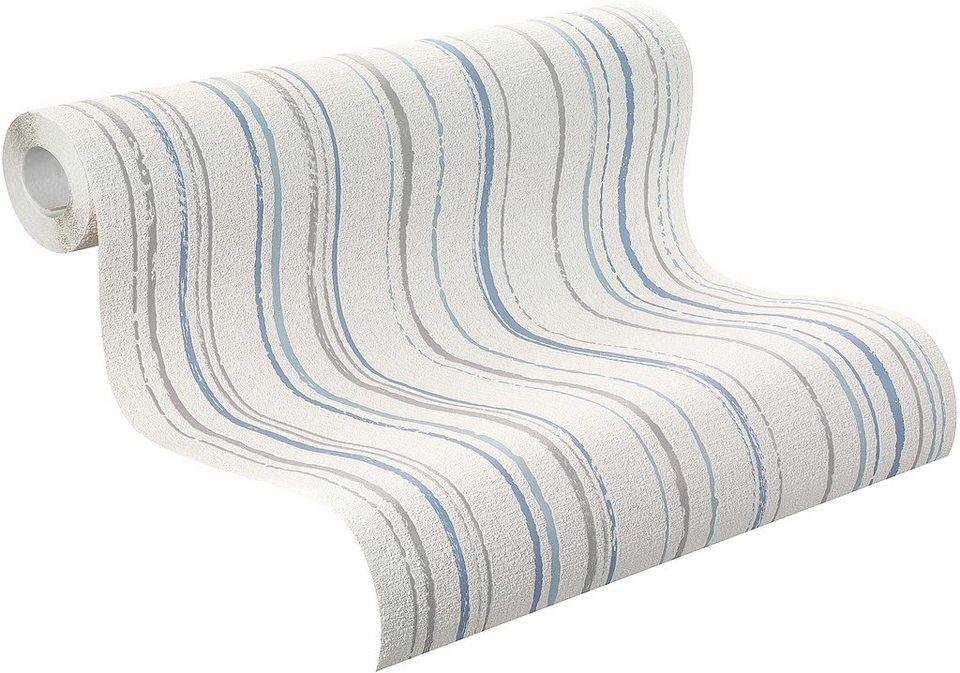 Vliestapete, Rasch, »Home Vision VI »Streifen« in grau, weiß, blau