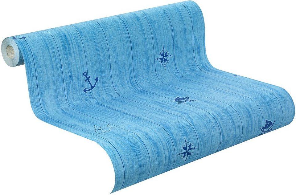 Papiertapete, Rasch, »Capt´n Sharky »Planke« in blau