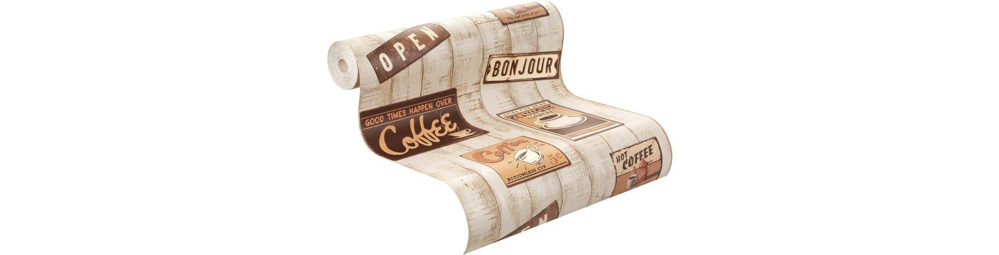 Papiertapete, Rasch, »Café »Muster«