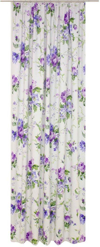 Vorhang, Wirth, »Montrose«, mit Kräuselband in lila.blau