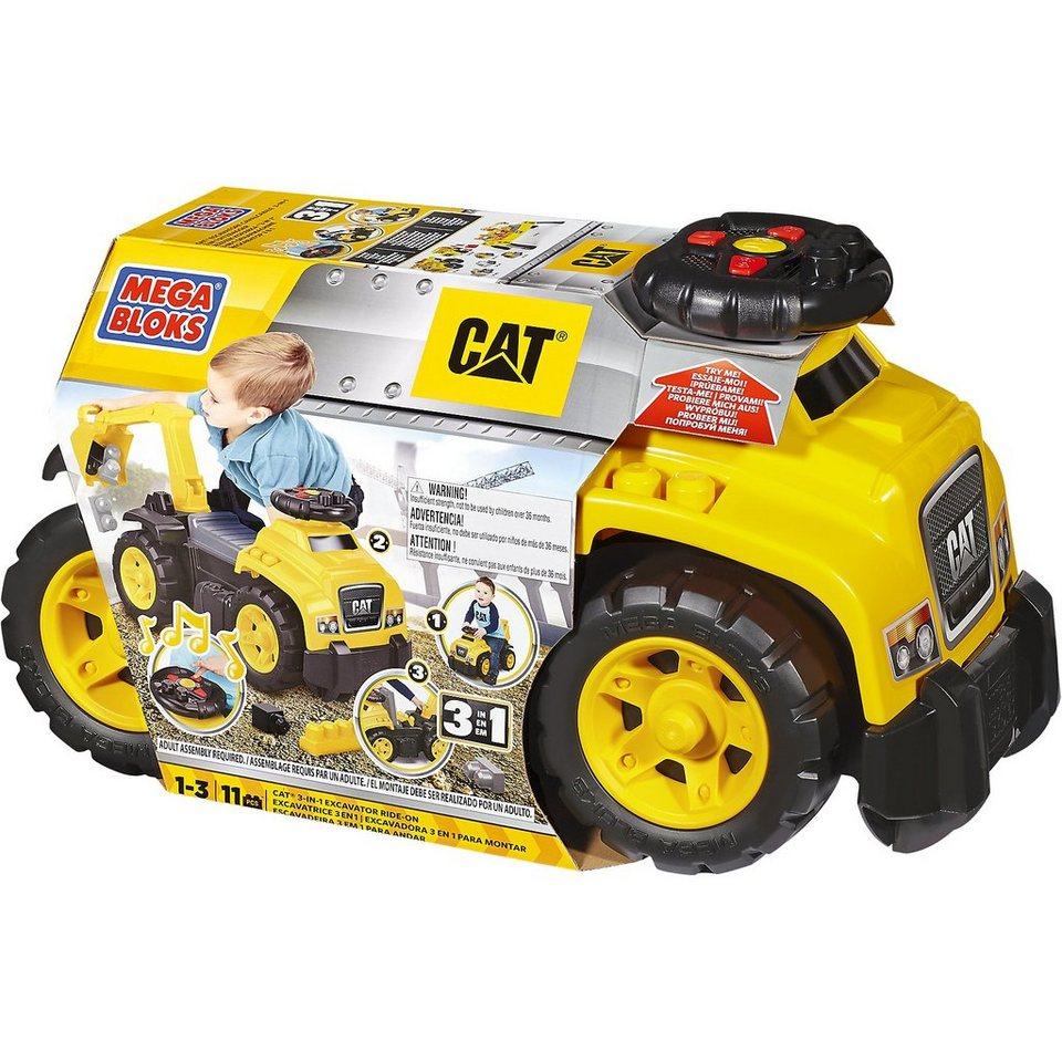 MEGA BLOKS First Builders - CAT Ride-On Rutschfahrzeug mit Baggerarm