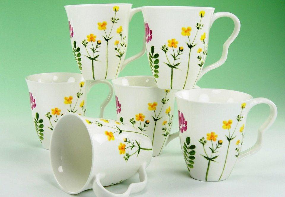 Kaffeebecher, Porzellan, »Eva Wiesenblumen« (6 Stck.) in cremeweiss/bunt