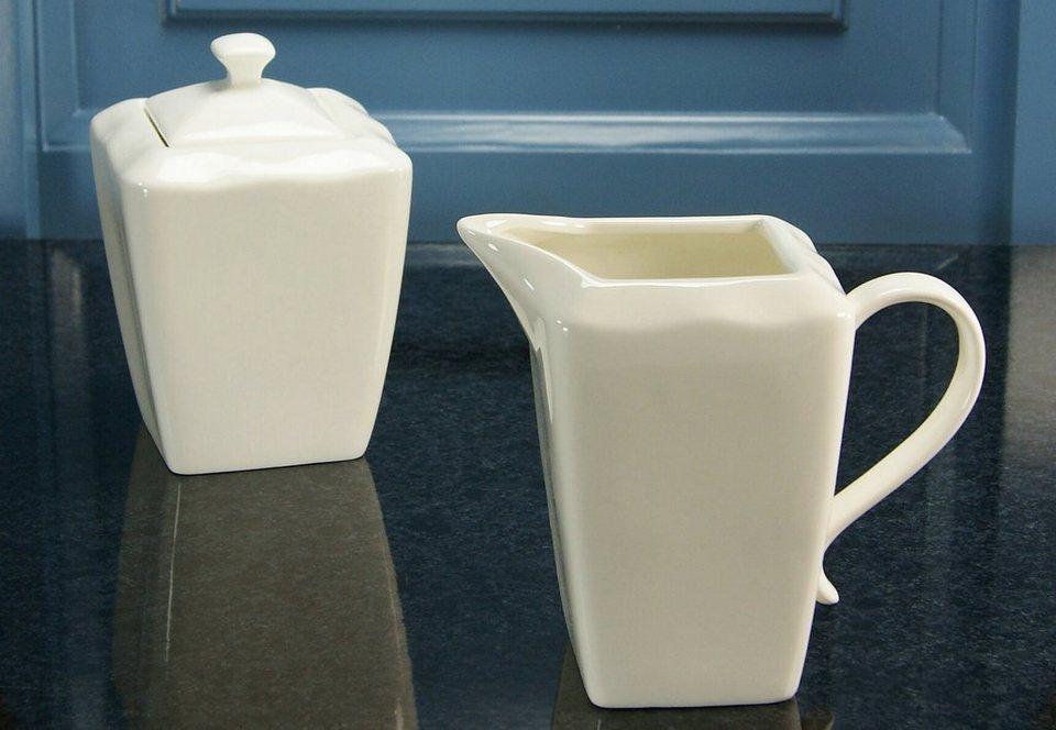 Milch/Zucker-Set, Pozellan, »EVA« (2tlg.) in cremeweiss