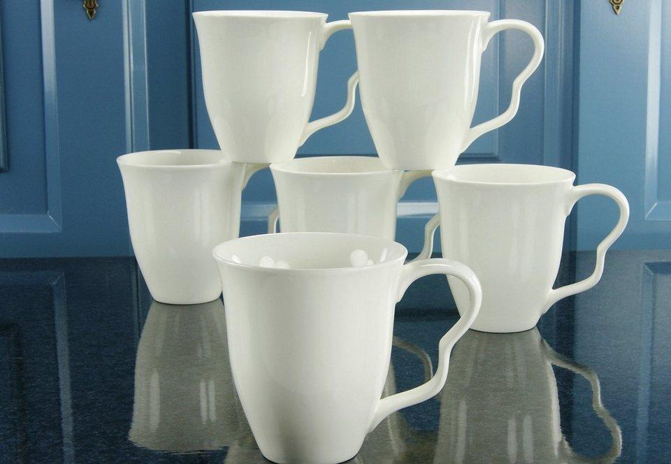 Kaffeebecher, Porzellan, »EVA« (6 Stck.) in cremeweiss
