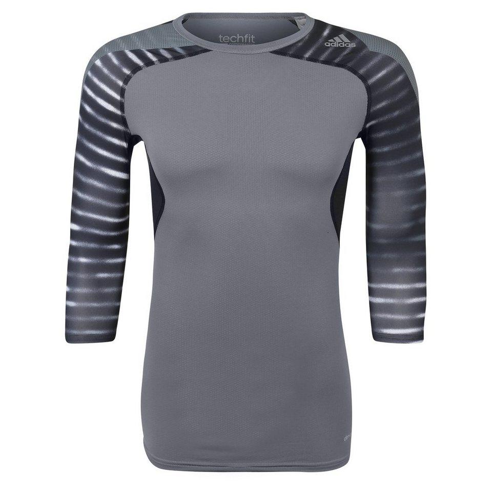 adidas Performance TechFit Cool Graphic Funktionsshirt Herren in grau / schwarz