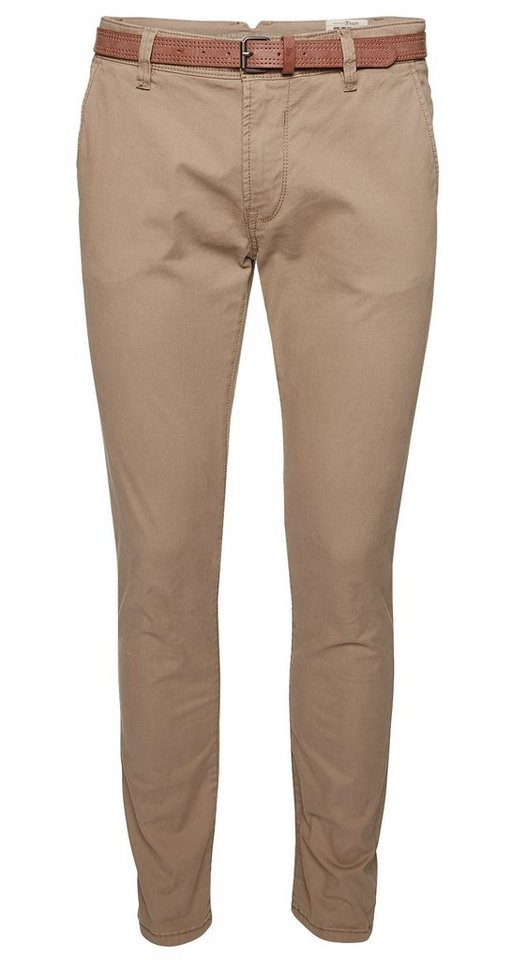 TOM TAILOR DENIM Hose »Skinny-Chino mit Gürtel« in caribou beige