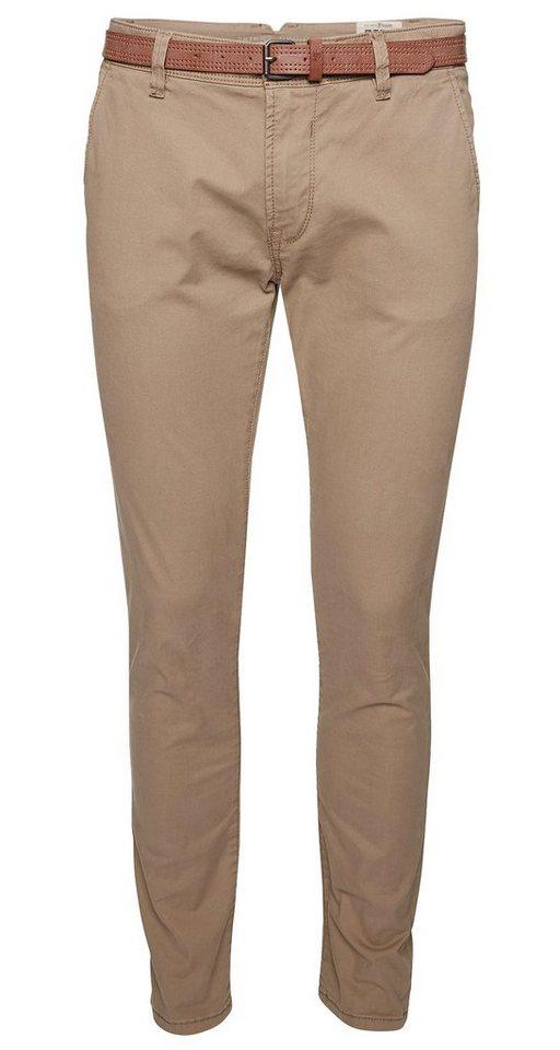 TOM TAILOR DENIM Hose »solid skinny chino with belt« in caribou beige