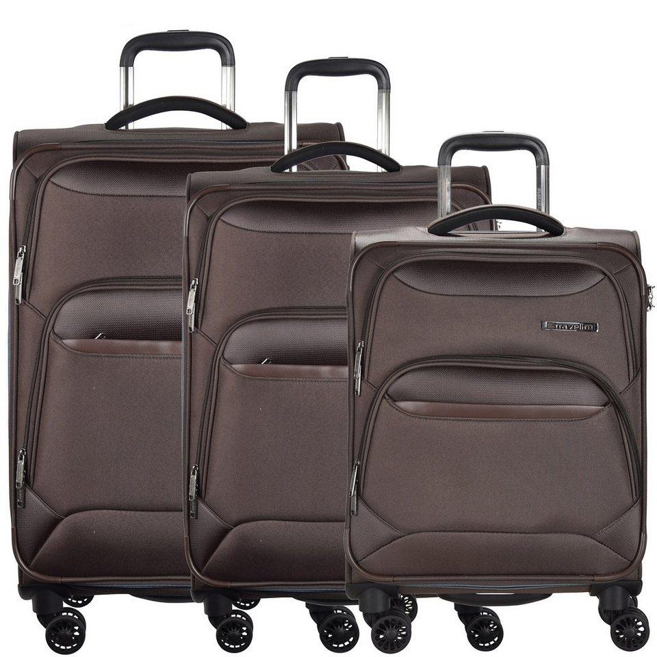 Travelite Kendo 4-Rollen Trolley Kofferset 3-tlg. in braun