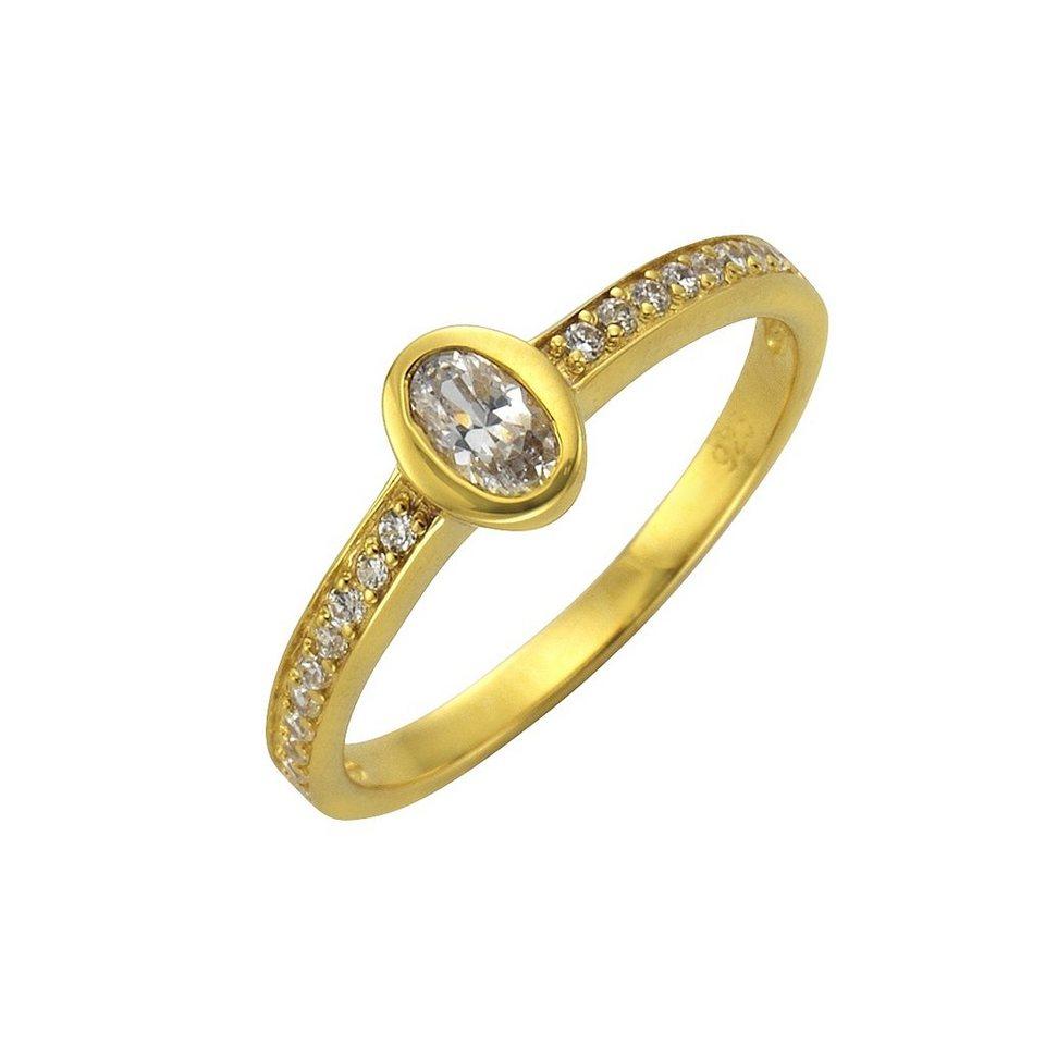 Zeeme Ring »925/- Sterling Silber vergoldet Zirkonia weiß« in gelb