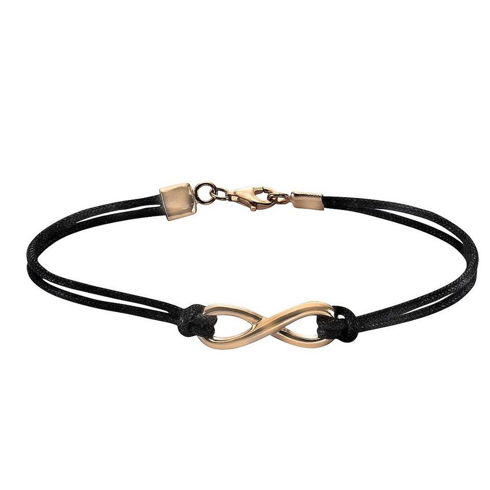 Zeeme Armband »925/- Sterling Silber Textilarmband« in schwarz