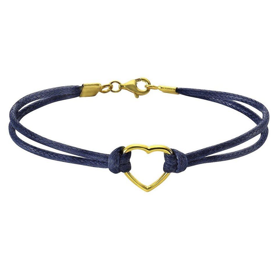 Zeeme Armband »925/- Sterling Silber Textilarmband« in blau