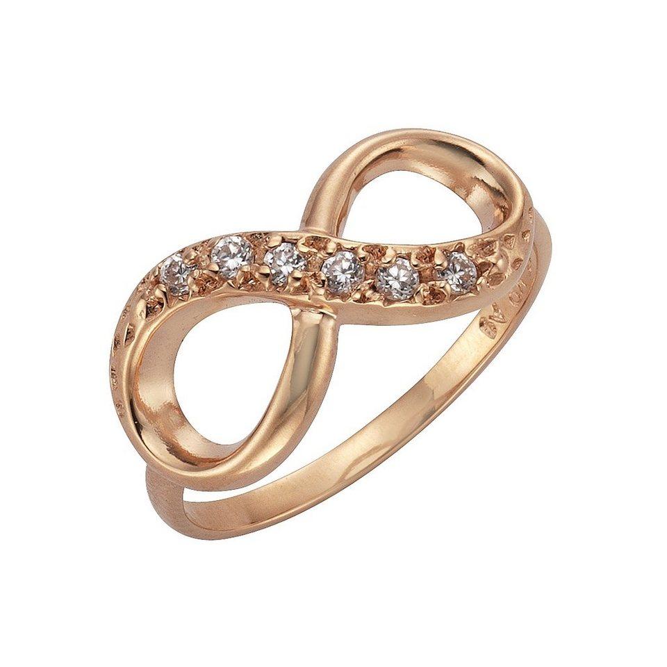 Zeeme Ring »925/- Sterling Silber Infinity Zirkonia weiß« in rot