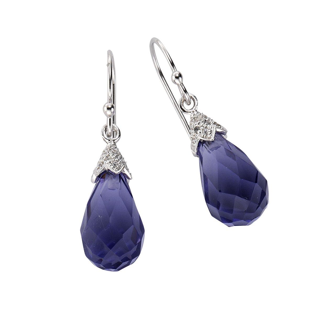 Zeeme Ohrhaken »925/- Sterling Silber Kristall lila«
